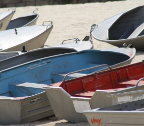 Blue and Red Boats