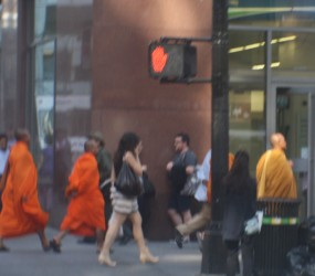 Even the monks don't stop in  New York City