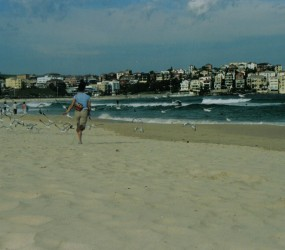 Jane chasing birds at Bondi Beach :)
